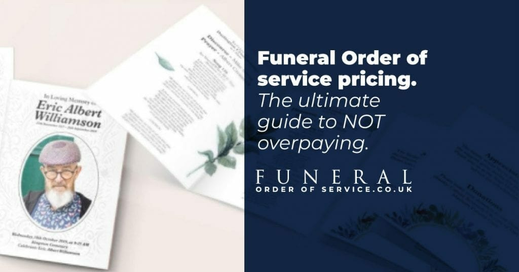 funeral order of service cost